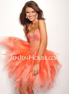 A-Line/Princess Sweetheart Short/Mini Satin Tulle Homecoming Dresses With Ruffle Beading (022009812)