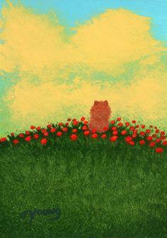 Pomeranian Dog Folk Art PRINT Todd Young painting Summer Poppies