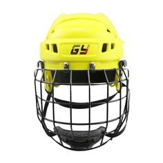 Yellow Ice Hockey Face Mask CE Certificate Hockey Helmet for player FREE SHIPPING