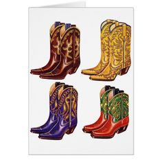 Shop Retro Vintage Kitsch Colorful Cowboy Boots Card created by seemonkee. Retro Vintage, Vintage Shops, Cowboy Boot Tattoo, Kitsch, Traditional Tattoo Girls, Cowboy Shoes, Girly Things, Girly Stuff, Cool Boots