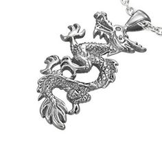 Pendentif acier dragon ondulant