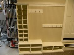 Storage for shoes in garage. Wouldn't use the coat hooks.well maybe one row, just in case. Garage Organization, Garage Storage, Storage Spaces, Organizing, Storage Ideas, Organized Garage, Shoe Storage, Coat Storage, Shoe Cubby