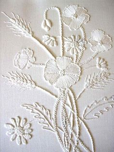 white on white White Embroidery, Embroidery Needles, Embroidery Applique, Machine Embroidery, Cross Stitch Embroidery, Flower Embroidery, Hand Embroidery Patterns Flowers, Hand Work Embroidery, Embroidery Scissors