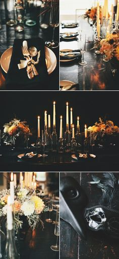 Halloween Dinner Party by Style Me Pretty. Love the bottles used as candle…