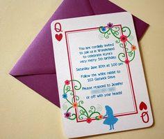 Alic in Wonderland tea party invites - too cute!