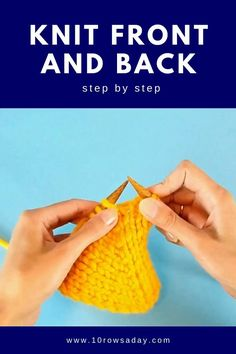 This quick tutorial is about one of the most popular ways to increase stitches – knitting into the same stitch twice. Because each stitch has two legs – front and back, we can easily make two stitches out of one by working into each leg of that stitch. Knitting Basics, Knitting Stiches, Knitting Videos, Knitting For Beginners, Knitting Projects, Crochet Stitches, Baby Knitting, Knitting Patterns, Finger Knitting