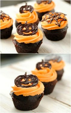 pumpkin-cupcakes Halloween cupcakes (Halloween cupcake ideas for decorating cupcakes in cute and fun ways for scary and spooky Halloween parties. Best Halloween Ideas to try Bolo Halloween, Halloween Sweets, Spooky Halloween, Halloween Chocolate, Halloween Cupcakes Decoration, Halloween Designs, Halloween Images, Happy Halloween, Cupcake Recipes