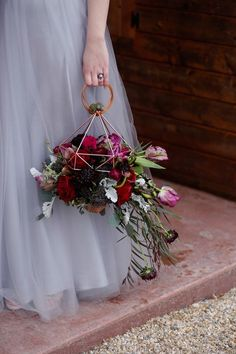 Geometric Bridal Bouquet and Purple Wedding Dress / http://www.deerpearlflowers.com/modern-himmeli-geometric-wedding-details/3/