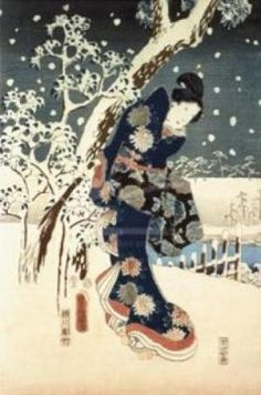 """She sets her mind  On Nirvana, when cherry blossoms  were still in bud.At Nano in Noto Province It's hard to live through a wintertime.""    by Matsuo Basho, painting ""Snow Scene in the Garden of a Daimyo part of Triptych"" oil on Canvas by Ando Hiroshige"