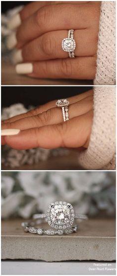 Moissanite White Gold and Diamond Ring – Moissanite oro blanco y anillo de diamantes – # # # Wedding Rings Simple, Wedding Rings Vintage, Diamond Wedding Rings, Bridal Rings, Wedding Jewelry, Solitaire Diamond, Solitaire Rings, Band Rings, Square Wedding Rings