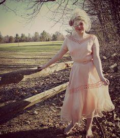 Vintage Dress  Vintage Blush Pink 1950s 50s by ConstantlyAlice on Etsy