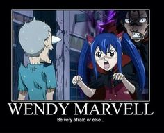 Wendy Marvel: be afraid or else..., funny, text, Gajeel, Wendy; Fairy Tail