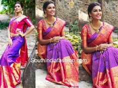 Anisha Ambrose in Myrah By Harshini – South India Fashion Half Saree Designs, Silk Saree Blouse Designs, Bridal Blouse Designs, Bridal Sarees South Indian, Wedding Silk Saree, Latest Pattu Sarees, Purple Saree, Saree Collection, Bridal Collection