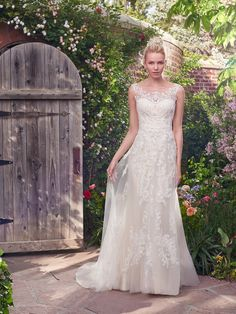 Wedding Dresses, Bridesmaid Dresses, Prom Dresses and Bridal Dresses Rebecca Ingram Wedding Dresses - Style Alexis 7RT307 [Alexis] - Rebecca Ingram for Maggie Sottero, Spring 2017. Alexis 7RT307: This flirty A-line gown features distinctive crosshatch motifs embellished with Swarovski crystals, delicate beading, and sequins. Illusion details accented in lace appliques create beautiful back interest. Finished with covered buttons over zipper closure. Shown in Ivory over Light Gold.