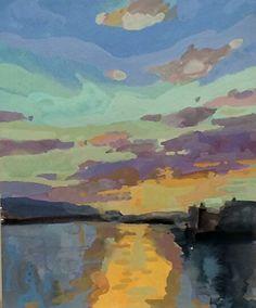 Sunset Study by Bernard Dellario, Gouache, 10 x 8