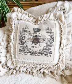 Excited to share this item from my shop: Canvas Custom Pillows Cover with Sayings w Ruffles Crown Bees French Country Farmhouse Decor Wedding Gift Birthday Christmas Gift More farmhouse pillow covers at The Swanky Rooster. Modern French Country, French Country Farmhouse, French Country Living Room, French Country Bedrooms, Country Kitchen, French Decor, French Country Decorating, Wedding Decor, Wedding Gifts