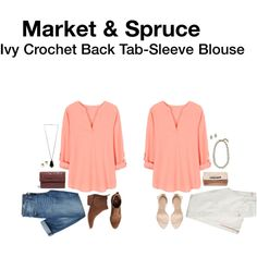 Market & Spruce Ivy Crochet Back Tab-Sleeve Blouse - LOVE this color for spring summer! PLEASE have this in my next #stitchfix! It's SO me!!!!