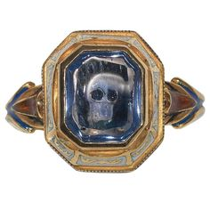Attilio Codognato Renaissance Style Enamel Sapphire Gold Skull Ring | From a unique collection of vintage dome rings at https://www.1stdibs.com/jewelry/rings/dome-rings/