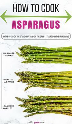 How To Cook Asparagus - in the oven, on the stove, in a microwave, on the grill, steamed. Healthy ways to eat asparagus #asparagus #howtocook #healthyeating #vegan | pickledplum.com #grilledasparagus Asparagus On The Stove, Ways To Cook Asparagus, Grilled Asparagus Recipes, Steamed Asparagus, How To Steam Asparagus, Best Asparagus Recipe, Oven Roasted Asparagus, Parmesan Asparagus, Asparagus Spears