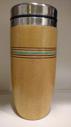 Travel mug made from  Pau amarello ( Yellowheart ) wood with Sleeping Beauty turquoise inlay and wood burned detail.
