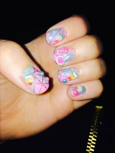 Cotton Candy Nail Art  With Candy Pieces <3