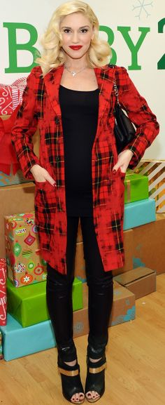 We love Gwen Stefani in this bright red plaid coat