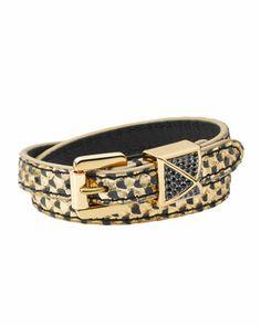Michael Kors Python-Embossed Wrap Bracelet, Black/Golden.