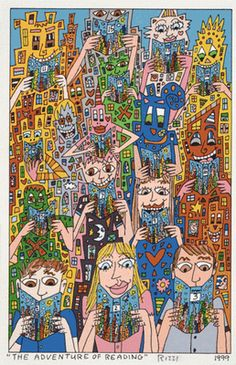 "James Rizzi - ""The Adventure of Reading"" 1999 original graphic - http://stores.ebay.de/universal-arts"