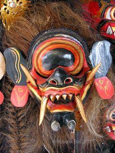 Karang Bintulu mask with one unblinking eye over a row of fearsome fangs, Jalan…