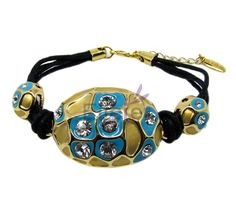 Classical Delicate Gold Bracelets With white Swarovski crystal & blue round shape For lady