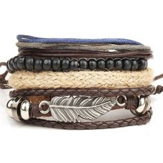 New Fashion Retro Metal Feather Wood Beads Braclets For Male Boy Cool Wristband Bijoux Punk Multi Layer DIY Braided Leather Cord Layered Bracelets, Braided Bracelets, Bracelets For Men, Fashion Bracelets, Bangle Bracelets, Leather Bracelets, Fashion Jewelry, Trendy Bracelets, Leather Wristbands