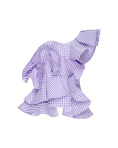 17594e187e1b Johanna Ortiz | Purple Dama Danzante One-shoulder Ruffled Gingham Cotton- poplin Top | Lyst