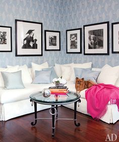 House of Turquoise: Martyn Lawrence-Bullard - love the black and white photos, splash of pink and calming blue tones! Gorgeous living space.