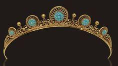 Carlo Giuliano (circa 1870) gold and turquoise tiara.