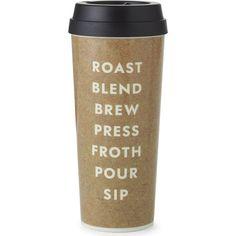 KATE SPADE NEW YORK Cream Brew Pour Sip thermal mug ($34) ❤ liked on Polyvore featuring home, kitchen & dining, drinkware, fillers, food, coffee, kate spade, hot tea mug, thermo mug and tea mug