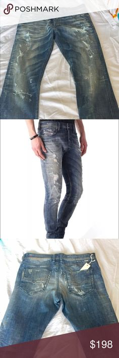 Diesel Men's Jeans 33X34 slim distressed stretch Button Fly.   33W x 34L    Distressed Wash = 0830K_Stretch TEPPHAR   Carrot Regular waist Medium blue Destroyed Stretch 97% Cotton, 3% Elastane-Spandex   TEPPHAR Skinny fit meets Carrot fit. This fit has a relaxed, regular waist that narrows to the ankle for a modern, clean-lined silhouette. It's the slimmest leg of our tapered carrot cuts but it's still comfortable and effortless.   SPRING/SUMMER 2016  DIESEL DNA showcases our most…