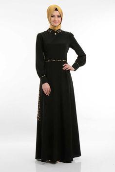 FY Collection - Arkası Şifon Leopar Desenli Siyah Elbise