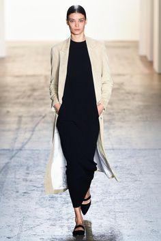 Long neutral  coat & black maxi dress -- Wes Gordon #style #fashion