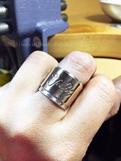Bi-Metal Ring by MAZ Handcrafted   Fine Silver Silver  & Personalized Rectangular Sheet Silver/14kt Gold Filled/ Rose Gold Filled by MAZhandcrafted on Etsy https://www.etsy.com/listing/228345080/bi-metal-ring-by-maz-handcrafted-fine