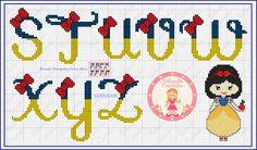 Cross Stitch Letters, Cross Stitch Boards, Cross Stitch Baby, Disney Letters, Disney Alphabet, Cross Stitching, Cross Stitch Embroidery, Hama Beads Disney, Disney Cross Stitch Patterns