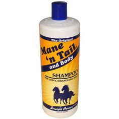 """£5.16. Mane 'n Tail, And Body Shampoo, 32 fl oz (946 ml). E-bay. """"I have super-thick and long hair. This weird horse shampoo called Mane 'n Tail is GREAT. It doesn't smell funky, and it strengthens and grows your hair. I can always tell the difference when I use a different shampoo too. It keeps my hair from being crazy some days; it's consistent and healthy. Horse shampoo for the win."""""""