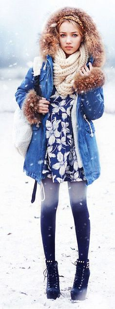 Absolutely love everything about this from the fur-trimmed denim coat to the floral dress to the ombré tights to the boots!!!