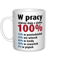 Kubek do pracy - W pracy zawsze daję z siebie 100% Days For Girls, Wtf Funny, Texts, Projects To Try, Lol, Mugs, Cool Stuff, Words, Laughing So Hard