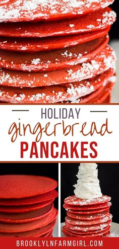 Easy to make Gingerbread Pancakes that are fluffy and tastes just like gingerbread cookies! Red food coloring is added in to make them more fun for Christmas morning breakfast!