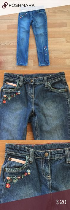 Hanna Andersson Floral Jeans Denim floral jeans with 2 1/2 pockets on front & 2 on back.  There is an adjustable waist band.  Size 130cm (8/10Y). Hanna Andersson Bottoms Jeans