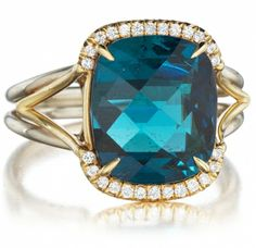 18kt white & yellow gold hand made ring with blue tourmaline & white diamonds