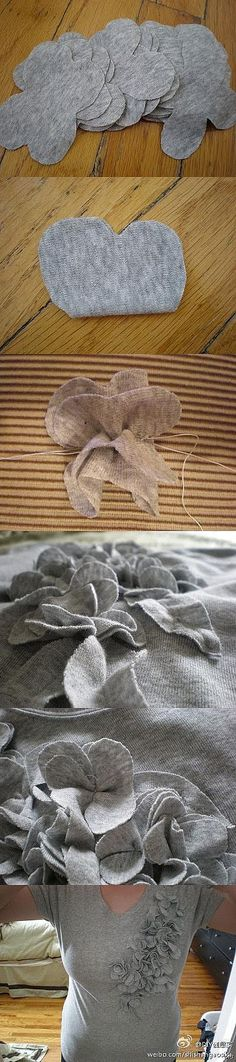 Adding knit flower embellishments.