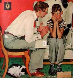 Norman Rockwell (1894 – 1978, American)...his dad is telling him the facts of life.  His face is precious!