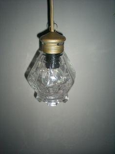 Erg mooi bewerkt glazen hanglampje Met koperwerk