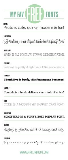 Favorite Free Fonts from A Fine Line  ~ {10 Free Fonts w/ download links} ~